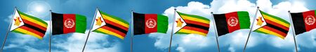 Zimbabwe flag with afghanistan flag, 3D rendering