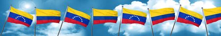 Venezuela flag with Colombia flag, 3D rendering