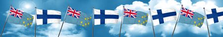 finnish: Tuvalu flag with Finland flag, 3D rendering Stock Photo