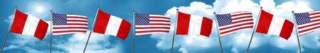 bandera de peru: Peru flag with American flag, 3D rendering Foto de archivo