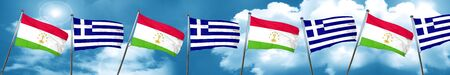Tajikistan flag with Greece flag, 3D rendering Stock Photo