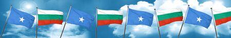 Somalia flag with Bulgaria flag, 3D rendering