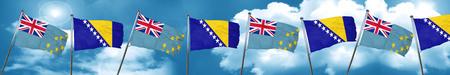 tuvalu: Tuvalu flag with Bosnia and Herzegovina flag, 3D rendering