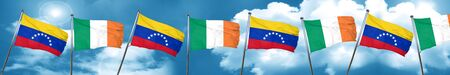 bandera de venezuela: Venezuela flag with Ireland flag, 3D rendering