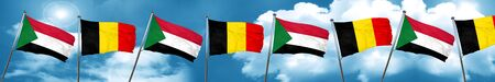 Sudan flag with Belgium flag, 3D rendering