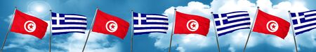 Tunesia flag with Greece flag, 3D rendering Stock Photo