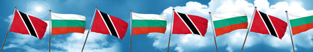 Trinidad and tobago flag with Bulgaria flag, 3D rendering