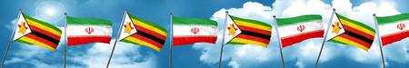 zimbabwe: Zimbabwe flag with Iran flag, 3D rendering Stock Photo