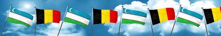 uzbekistan: Uzbekistan flag with Belgium flag, 3D rendering