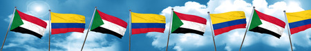 Sudan flag with Colombia flag, 3D rendering