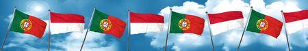 drapeau portugal: Portugal drapeau avec le drapeau Indonésie, le rendu 3D