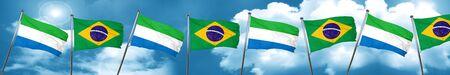 Sierra Leone flag with Brazil flag, 3D rendering Stock Photo