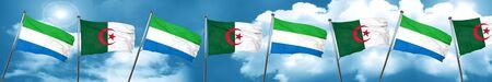Sierra Leone flag with Algeria flag, 3D rendering