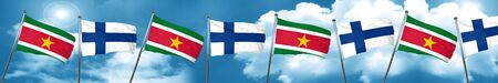finnish: Suriname flag with Finland flag, 3D rendering Stock Photo
