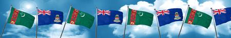 cayman: Turkmenistan flag with Cayman islands flag, 3D rendering