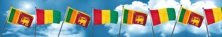 Sri lanka flag with Guinea flag, 3D rendering