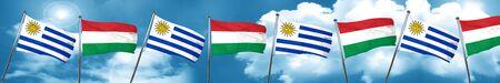 bandera de uruguay: Uruguay flag with Hungary flag, 3D rendering