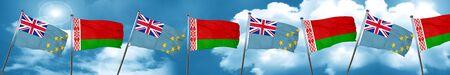 Tuvalu flag with Belarus flag, 3D rendering