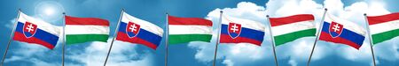 Slovakia flag with Hungary flag, 3D rendering