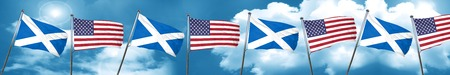 usa flags: scotland flag with American flag, 3D rendering