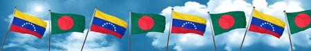bandera de venezuela: Venezuela flag with Bangladesh flag, 3D rendering Foto de archivo