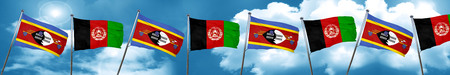 Swaziland flag with afghanistan flag, 3D rendering