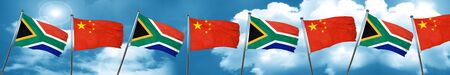 South africa flag with China flag, 3D rendering