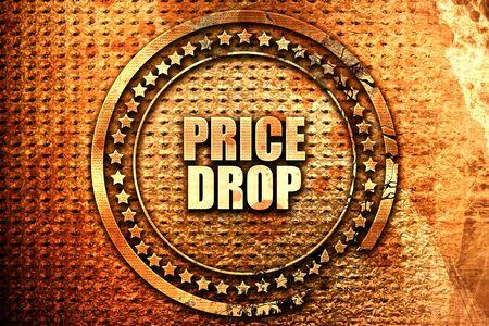 price drop, 3D rendering, text on metal Stock Photo