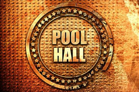 pool hall, 3D rendering, text on metal