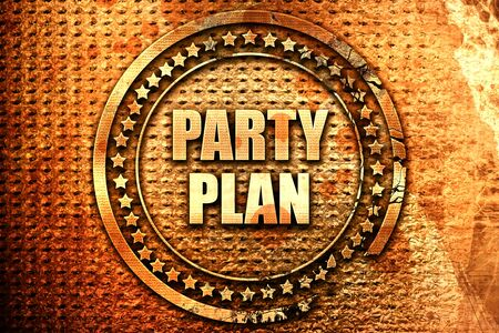 organise: party plan, 3D rendering, text on metal Stock Photo