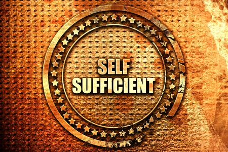 self sufficient: self sufficient, 3D rendering, text on metal