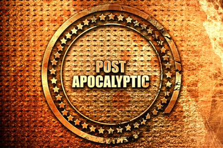 destructive: post apocalyptic, 3D rendering, text on metal