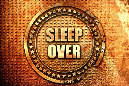 pijamada: Sleepover, representación 3D, texto sobre metal