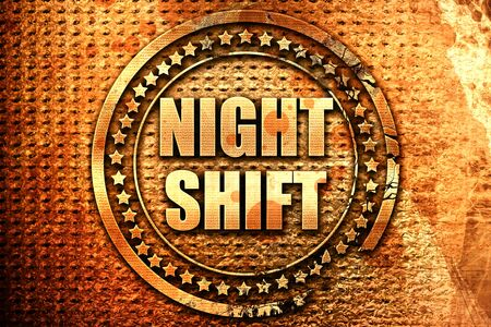 shift: night shift, 3D rendering, text on metal Stock Photo