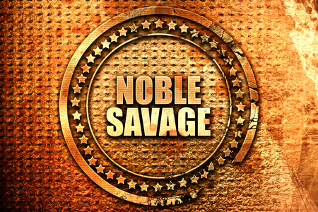 indigene: noble savage, 3D rendering, text on metal Stock Photo