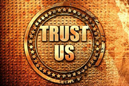 trust us, 3D rendering, text on metal