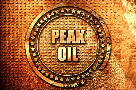 peak oil, 3D rendering, text on metal