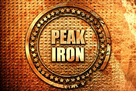 peak iron, 3D rendering, text on metal Stock Photo