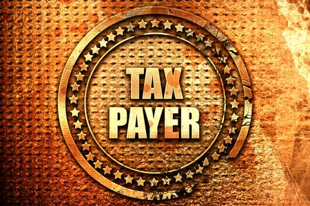 taxpayer: tax payer, 3D rendering, text on metal Stock Photo