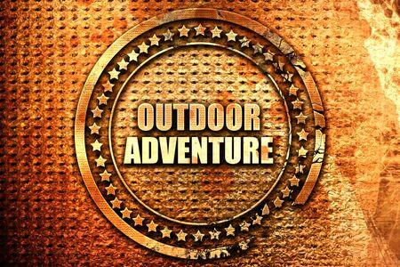 outdoor adventure, 3D rendering, text on metal