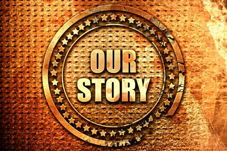 our: our story, 3D rendering, text on metal Stock Photo