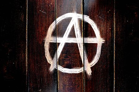 Vintage Anarchy sign on a grunge wooden panel