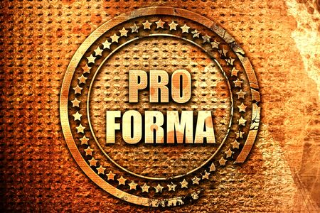 pro forma, 3D rendering, text on metal