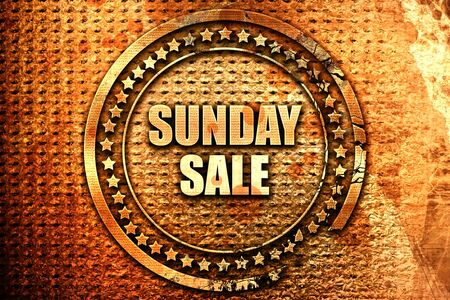 sunday: sunday sale, 3D rendering, text on metal
