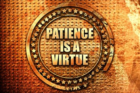 paciencia: la paciencia es una virtud, 3D, texto en el metal