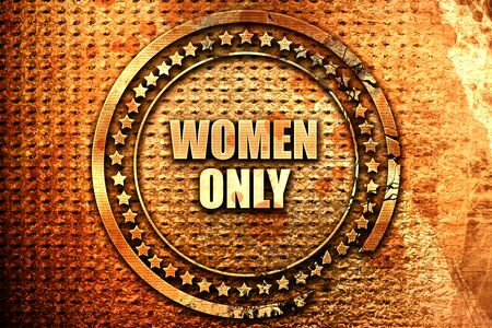 women only, 3D rendering, text on metal Stock Photo
