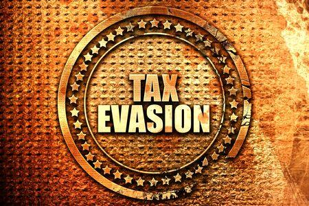 evasion: tax evasion, 3D rendering, text on metal Stock Photo