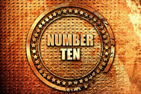 number ten: number ten, 3D rendering, text on metal Stock Photo