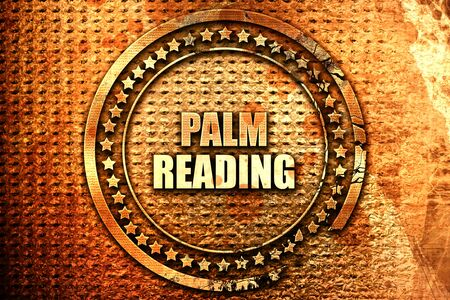 palm reading, 3D rendering, text on metal