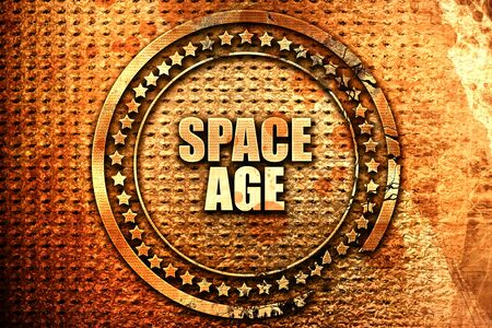 space age: space age, 3D rendering, text on metal